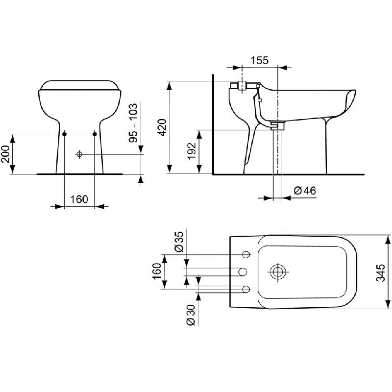 Bidet ideal standard 3 fori conca bianco for Bidet ideal standard