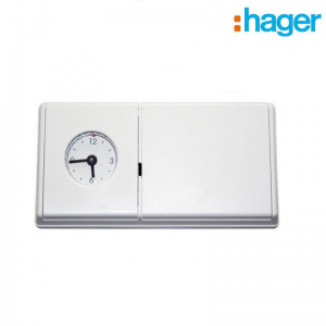 Cronotermostato Hager Termoflash Eco 24h Meccanico Bianco Con Programmazione Giornaliera. Fissaggio A Parete. Art.56034