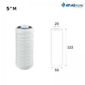 Cartuccia Filtro Atlas A Rete Di Poliestere 5 Pollici 50 Micron Rl Mignon Sx Per Contenitore Medium Lavabile