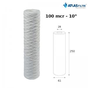 Cartuccia Filtro Atlas In Filo Di Propilene Avvolto 10 Pollici 100 Micron Fa 10 Sx Per Contenitore Senior