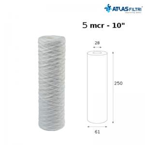 Cartuccia Filtro Atlas In Filo Di Propilene 10 Pollici 5 Micron Fa 10 Sx Per Contenitore Senior