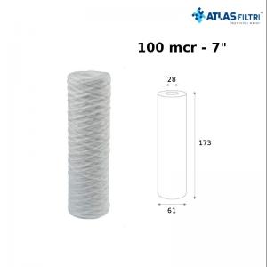 Cartuccia Filtro Atlas In Filo Di Propilene Avvolto 7 Pollici 100 Micron Fa 7 Sx Per Contenitore Junior
