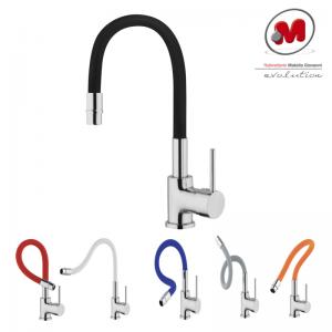 Monocomando Miscelatore Monoforo Matella Design Per Lavello Con Bocca Modellabile In Silicone Colorata: Bianco, Nero, Rosso, Blu