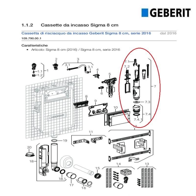 GEBERIT serie 241.290.00.1 Geberit Campana completa Twico per cassette di scarico ad incasso Unica