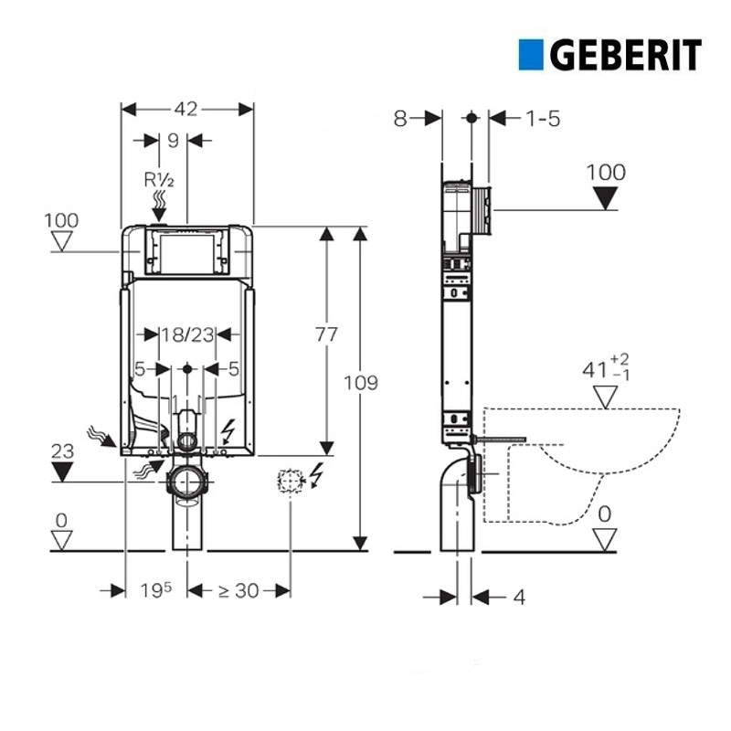 Combifix Vaso Sospeso.Cassetta Incasso Geberit Combifix Sigma 8 Per Wc Sospeso Spessore 80 Mm Art 110 790 00 1